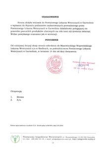 Węza Pszczela - decyzja inspektoratu weteryjnego str.2